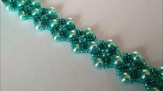 Green bracelet. DIY. Красивый браслет из бисера и бусин. МК