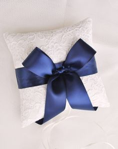 Navy and Ivory Alencon Lace Ring Bearer Pillow with Satin Bow by weddingsandsuch on Etsy https://www.etsy.com/listing/109709285/navy-and-ivory-alencon-lace-ring-bearer