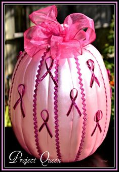 breast cancer awareness pumpkin. Since Halloween is my 'anniversary', this could be my favorite BC decoration!