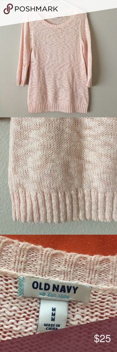 Light Pink Old Navy Sweater Quarter length sleeve sweater. Only been worn once or twice. Super soft and really comfortable. Old Navy Sweaters Crew & Scoop Necks