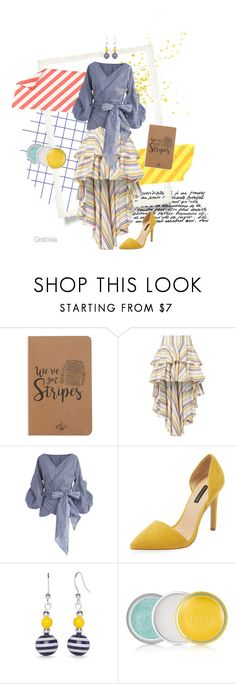 """""""Light and stripes"""" by gretokia ❤ liked on Polyvore featuring Denik, Caroline Constas, Chicwish, Ava & Aiden, Kim Rogers, Clinique, yellow, stripes and fashionology"""