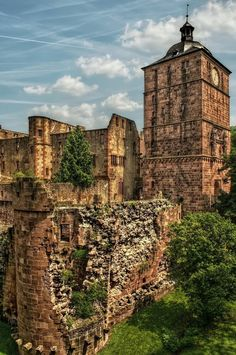 Castle ruins in Heidelberg. Heidelberg is famous for the 95 Theses, which Martin Luther proclaimed there in April 1518. This castle, which is shown in the picture, was destroyed by French in 1650.