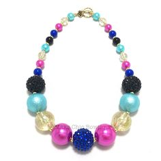 Toddler or Girls Hot Pink, Turquoise, Black, Royal Blue and Glitter Gold Chunky Necklace, Princess chunky necklace, Anna inspired necklace by MaksChicBowtique on Etsy https://www.etsy.com/listing/462412376/toddler-or-girls-hot-pink-turquoise