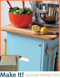 Filing cabinet as kitchen cart