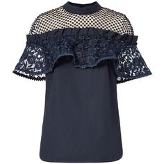 Self-Portrait Women's Hudson Poplin Lace Top (£265) ❤ liked on Polyvore featuring tops, navy, blue lace top, navy lace top, lace top, sleeveless tops and off the shoulder ruffle top