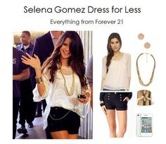 chiffon cream shirt, black high wasted shorts and gold chain necklace