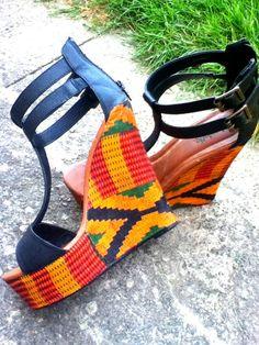 "African print / Ankara sandals (handmade) ""Mamba"". $45.99, via Etsy."