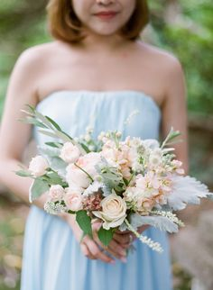 Summer Bridesmaids Bouquets by Celsia Floral  Event Design: White Event Studio  Blush Wedding Photography
