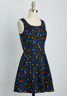 Name of the Gamer Dress. With tokens jingling in the pockets of this black cotton frock, you bop through the arcade looking as cute as can be! #multi #modcloth