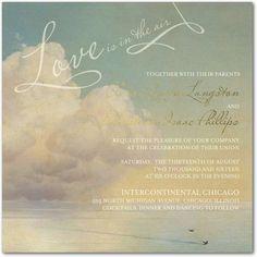 Soaring Love - Signature White Wedding Invitations in Basil | Claire Pettibone