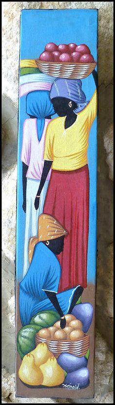 Haitian Market Scene Original Primative Art by TropicAccents, $24.95 Haitian Art #Haiti