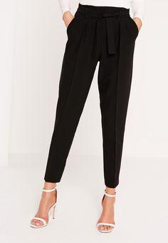 Missguided - Pleated Waist Tie Belt Cigarette Trousers Black
