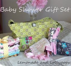 Burp cloths, stroller bag, pacifier clips, tag blankie, quilted changing pad, & nursing cover. All home-made and very necessary!