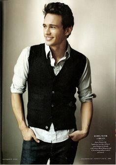 Smart but casual James Franco wears a vest instead of a jacket. #Men #Fashion #Casual #Vest #Shirt