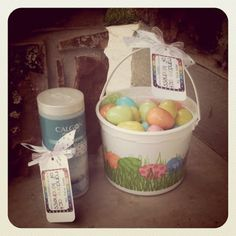 Leave treats for a sweet friend who has a home daycare-   Easter eggs with treats for the kids, Calgon for the mama!