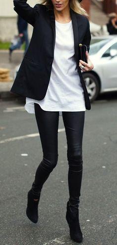 Street+styles+/+black+coat+++black+jeans+++white+blouse #omgoutfitideas #stylish #streetfashion