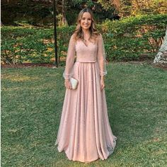 Online Shop V Neck A Line Evening Dresses Long Sexy Tulle Long Sleeves Elegant Party Gowns Evening Gowns Robe De Soiree Prom Dresses Long Pink, Prom Dresses Long With Sleeves, Prom Dresses With Sleeves, Women's Evening Dresses, Tulle Prom Dress, Dress Long, Evening Gowns With Sleeves, Prom Long, Dresses Dresses
