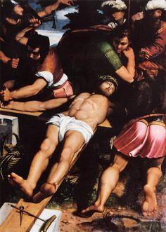 Callisto Piazza da Lodi - Nailing of Christ to the Cross. 1538