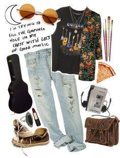 """""""I'm trying to fill the gaping hole in my chest with lots of good music"""" by sara666x ❤ liked on Polyvore"""