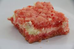 Mix and Match Mama: Strawberry Bars... I also made this as a double batch by blending lemon cake and strawberry cake.... It was VERY, VERY yummy. I also used 1/3 less fat philly cheese and Truvia sugar substitute (twice as potent as sugar, so I used half as much)