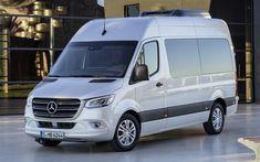Télécharger fonds d'écran Mercedes-Benz Sprinter, 4k, 2018 les bus, les passagers de bus, le nouveau Sprinter, Mercedes