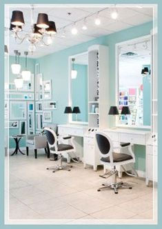 THE CHAIRS!!! THE COLOR ON THE WALLS. SUPER DUPER CUTE LOVE this idea(s) for a home salon- See chairs and station counter space mirrors. http://www.purebeauty.com/salons/