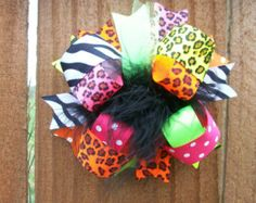Hair Bow---FULL Size Funky Fun Over the Top Bow---Funky Neon Animal Prints---SUPER CUTE