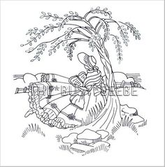 crinoline girl (sunbonnet sue, reading, embroidery, applique, quilt, sitting, tree)