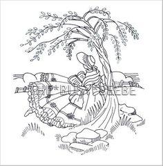 crinoline girl (sunbonnet sue, reading, embroidery, applique, quilt, sitting, tree)