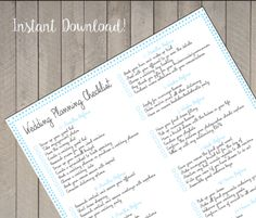 Wedding Planning Checklist - Instant Download