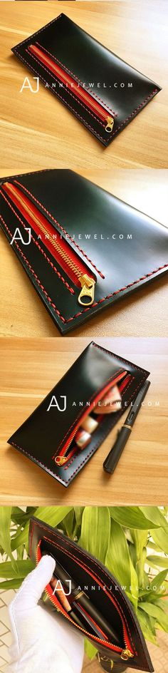 BLACK & RED HANDMADE LEATHER ZIP WALLET VINTAGE LONG WALLET CLUTCH PHONE PURSE WALLET FOR WOMEN MEN
