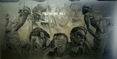 """Mural: """"Valor Frente a la Indiferencia"""" En memoria de los caídos en el hecho ocurrido el 18 de septiembre  del 2009, Autor: Alfredo Nieto Martínez, #Balderas #L3"""