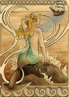 "Mermaid sits on a water sprayed rock in the ocean and watches a ship approach, art nouveau border - Art Reproduction (Print) - ""Mermaid"" See CaryeVDPMahoney on Etsy Real Mermaids, Mermaids And Mermen, Fantasy Mermaids, Art Nouveau, Download Art, Sea Siren, Mermaid Fairy, Art Vintage, Vintage Mermaid"