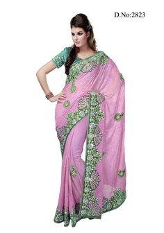 Lotus Embroidered Border Saree