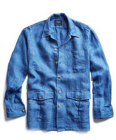 Drake's Linen Shirt Jacket in Blue - Todd Snyder Tailor Made Shirts, Work Shirts, Safari Shirt, Safari Jacket, Shirt Jacket, Shirt Outfit, Travel Blazer, Gq Mens Style, Corduroy Blazer
