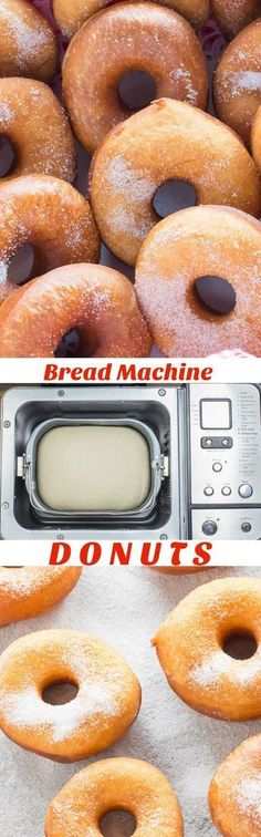 Easy Bread Machine Donuts It is so easy to make delicious, fresh homemade donuts using your bread machine. Easy Bread Machine Donuts are light and fluffy just like the ones from your favourite bakery. Bread Machine Donut Recipe, Bread Maker Recipes, Donut Recipes, Baking Recipes, Bread Maker Pizza Dough, Bread Machine Rolls, Ma Baker, Baked Donuts, Doughnuts