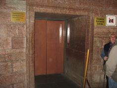Famous entrance to the gold lined elevator going up to Hitler's Eagle Nest