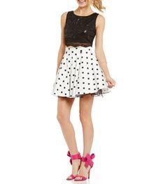 Jodi Kristopher Polka Dot Two-Piece Party Dress