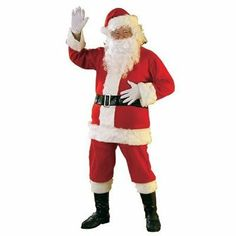 Flannel Adult Santa Suit Size: Extra Large by Rubie`s. $29.95. Colorfast red flannel santa suit includes faux fur trimmed jacket with belt loops, pants with pockets, belt, boot tops, hat, wig, and beard. Standard size fits men's' jacket size 40-48. Dry clean only. Light weight yet durable, this santa suit is easy to wear year after year. Be sure to look for fun matching accessories to complete the look. Rubies has been a leader in costumes, accessories, and decorations fo...