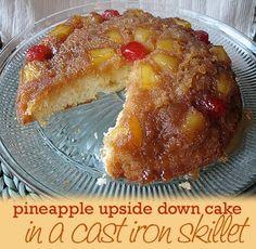 Pineapple Upside Down Cake in a Cast Iron SkilletAmanda's Cookin'