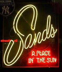 A replica Sands neon sign in a Las Vegas gift shop on the Strip.