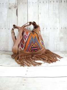 Kilim Bag Leather Fringe Bag Tribal Bag Distressed by 14xbags, $289.00
