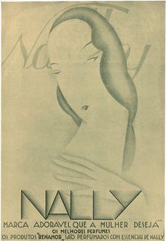 "Nally Perfume Advertisement, 2, 16 April 1930. The Portuguese ""Film Chronicle"" magazine's distinctive advertisement created by designer/illustrator, Lazarus. 1930."