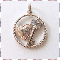 Vintage Sterling-KEY To My HEART-Charm Circle Pendant  Heart