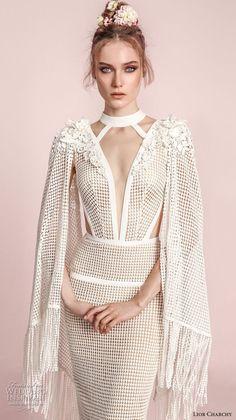 lior charchy spring 2017 bridal hanging sleeves deep plunging v neck keyhole full embellishment elegant sexy sheath fit and flare wedding dress (12) zv -- Lior Charchy Spring 2017 Wedding Dresses