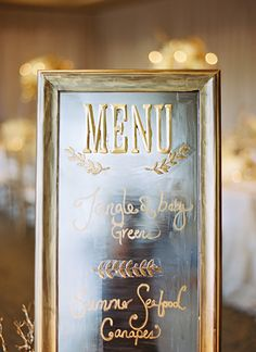 Find a cool mirror at a thrift store and use a dry erase marker or metallic paint pen to turn it into your menu.