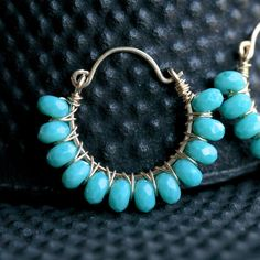 Handmade gold earrings dark turquoise blue by MimiMicheleJewelry