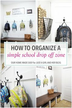 Create an organized school drop off zone to help your family get out the door more easily in the mornings-- no more searching around for missing items!