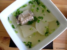 Chinese Pork Sparerib and Daikon Soup #recipe #soups #daikon via unihomemaker.com