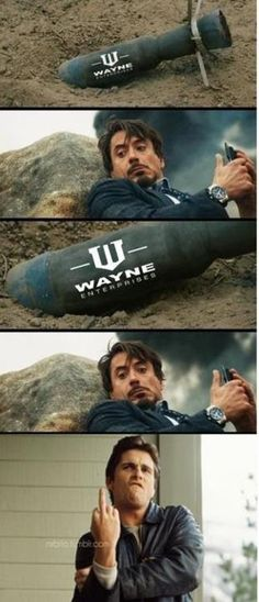 """Bruce Wayne Owning Tony Stark. LOL! I'm on """"Team Stark"""" but this was just too funny!"""